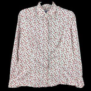 Liberty White Red Floral Long Sleeve Button Shirt